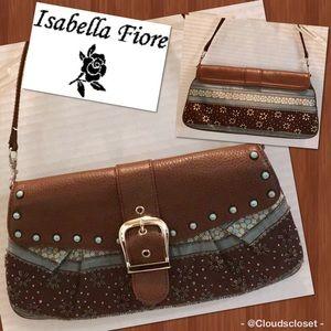 ISABELLA FIORE Shoulder Bag Clutch BROWN Blue